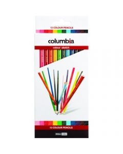 COLUMBIA COLORSKETCH PENCILS,Full Length Assorted,Pack of 12