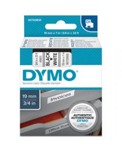 DYMO D1 LABEL CASSETTE TAPE 19mm x 7M Black on White
