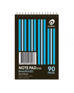 OLYMPIC SPIRAL NOTEPAD,SP60 8mm Ruled 76mm x 112mm,90 Page