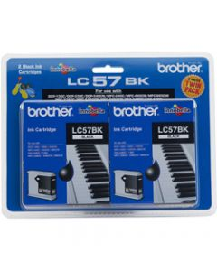 BROTHER INK CARTRIDGE LC-57BK2PK Twin Pack Black