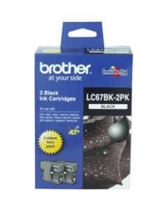 BROTHER INK CARTRIDGE LC-67BK2PK Twin Pack Black