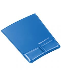 FELLOWES WRIST SUPP &MOUSE PAD,Gel Clear - Blue