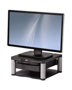 FELLOWES MONITOR RISER PLUS,5 Adj,Storage Drawer,21 Graphite