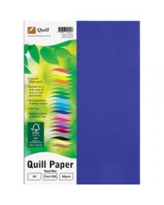 Quill Colour Copy Paper A4,80gsm Royal Blue,Ream of 500