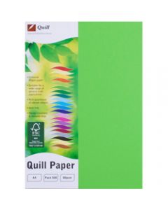 Quill Colour Copy Paper A4,80gsm Lime,Ream of 500