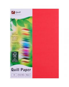 Quill Colour Copy Paper A4,80gsm Red,Ream of 500