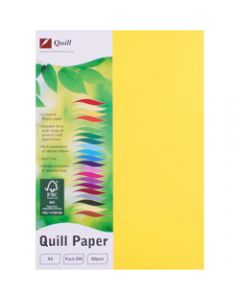Quill Colour Copy Paper A4,80gsm Lemon,Ream of 500