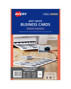 AVERY L7414 PERF BUSINESS CARD,Laser/IJet White 20 Lbls/1 Sht,Pack of 10 sheets