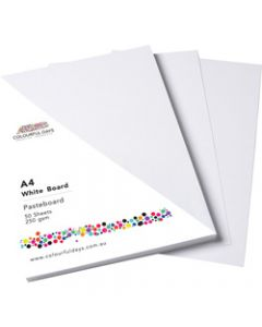 Colourful Days Pasteboard,510x640mm 250gsm White,Pack of 100