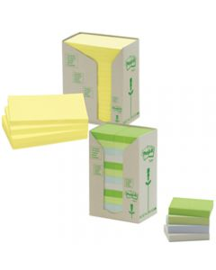 POST-IT 654-RTY NOTES TOWERS,Recycled Yellow 73X73mm,Pack of 16