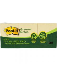 POST-IT 653-RP RECYCLED NOTES,36x48mm 100 Shts Yellow,Pack of 12