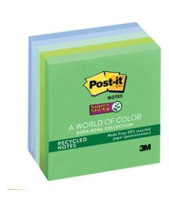 Post-It 654-5SST Super Sticky Notes 76x76mm Recycled Bora Bora Assorted Pack of 5