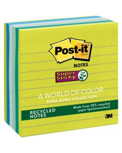 Post-It 675-6SST Super Sticky Notes 98x98mm Recycled Lined Bora Bora Pack of 6