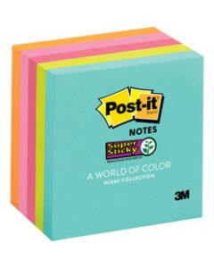 Post-It 654-5SSMIA Super Sticky Notes 76x76mm Non Lined Miami Assorted Pack of 5