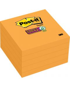 Post-It 654-5SSNO Super Sticky Notes 76x76mm Neon Orange Pack of 5