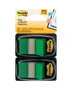 POST-IT FLAGS,680-GN2 25.4mm x 43.2mm,Green Twin Pack