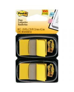 POST-IT FLAGS,680-YW2 25.4mm x 43.2mm,Yellow Twin Pack