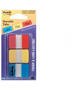 POST-IT DURABLE TABS,686-RYB 25mm x 38mm,Assorted Pack of 66