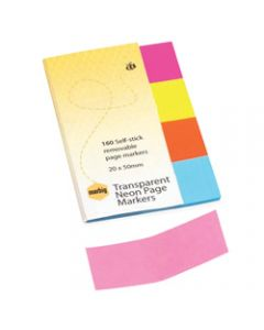 MARBIG NOTES PAGE MARKERS,Transparent Neon 20mm x 50mm,Assorted 160 Sheets Pack