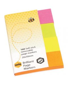 MARBIG NOTES PAGE MARKERS,Brilliant 20mm x 50mm,Assorted 160 Sheets Pack