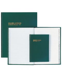 COLLINS NOTEBOOKS HARD COVER,A5 A-Z 168Pg Green