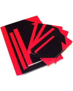 CUMBERLAND NOTEBOOK,A5 100 Leaf Indexed,Red And Black Gloss Cover