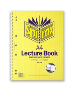 SPIRAX LECTURE BOOK,598 A4 140 Page With Pocket,Side Opening