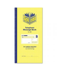SPIRAX TELEPHONE MESSAGE BOOK,550 No Carbon Required 160,Duplicate Sets Side Opening