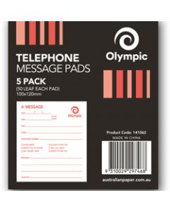 OLYMPIC TELEPHONE MESSAGE PADS,100x120m 50 leaf,Pack of 5