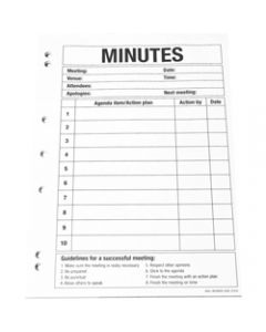 QUILL A4 PLANNER PADS,Meeting Minutes 70GSM,50 Leafs