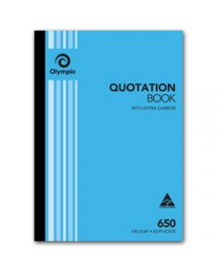 OLYMPIC CARBON BOOK,650 Duplicate A4 297mm x 210mm,Quotation 100 Leaf