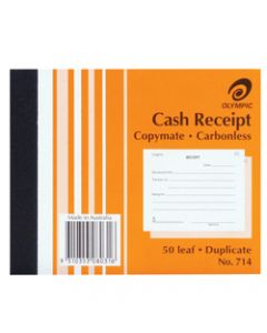 OLYMPIC CARBONLESS BOOK,714 Duplicate 125mm x 100mm,Cash Receipt 50 Leaf