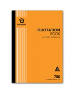 OLYMPIC CARBONLESS BOOK,750 Duplicate A4 297mm x 210mm,Quotation 50 Leaf