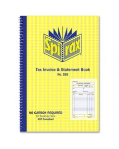 SPIRAX BUSINESS BOOK,555 Invoice Statement 207mm x,144mm Carbonless Side Opening