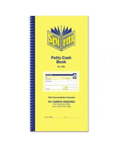 SPIRAX BUSINESS BOOK,552 Petty Cash 279mm x 144mm,Carbonless Side Opening