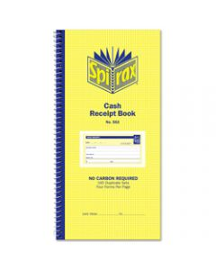 SPIRAX BUSINESS BOOK,553 Cash Receipt 279mm x 144mm,Carbonless Side Opening
