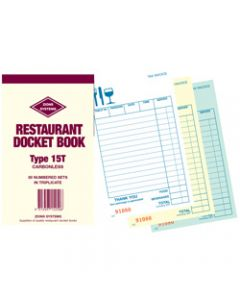 ZIONS 15T DOCKET BOOK,C/Less Triplicate 165X95mm