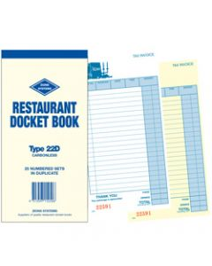 ZIONS 22D DOCKET BOOK,Resturant C/Less Dup 200X100