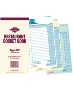 ZIONS 22T DOCKET BOOK,Resturant C/Less Trip 200X100
