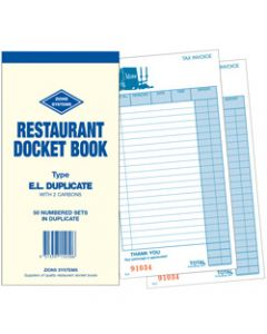 ZIONS ELD DOCKET BOOKS,Dup Carbon 200X100mm 22 Lines