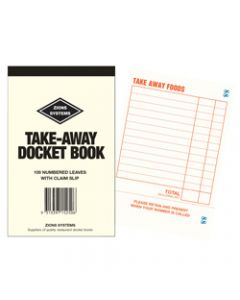 ZIONS TA DOCKET BOOK,Resturant Take Away 150X95mm