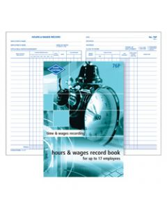 ZIONS 76P HOURS & WAGES BOOK,Up To 17 Employees 205X130mm
