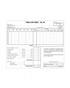 ZIONS TIME AND PAY SHEET,Number 44 Hospitality,Pack of 500