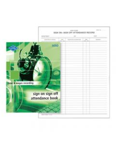 ZIONS SOSO ATTENDANCE BOOK,Sign On Sign Off 260X200mm
