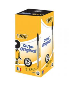 BIC CRISTAL BALLPOINT PENS,Black Pack of 50