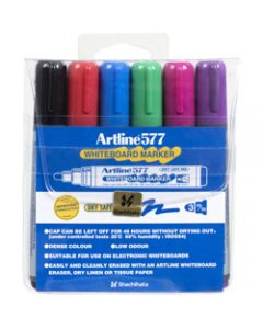 ARTLINE 577 WHITEBOARD MARKERS,Bullet Assorted Colours,Pack of 6
