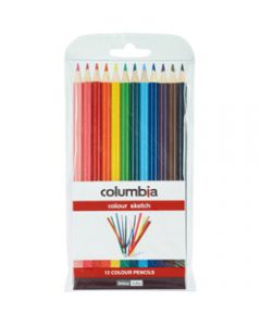 COLUMBIA COLOUR SKETCH PENCILS,Assorted Colours Pack of 12