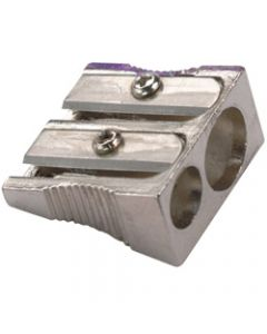 MARBIG PENCIL SHARPENER,2 Hole Metal Silver