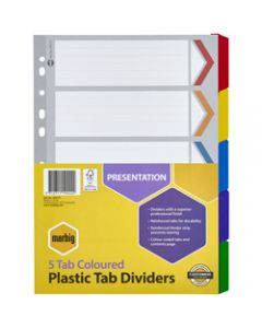 Marbig Plastic Divider,A4 Reinforced 5 Tab,Multi Colour