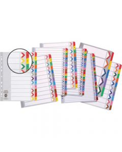 Marbig Plastic Divider,A4 Reinforced 1-20 Tab,Multi Colour